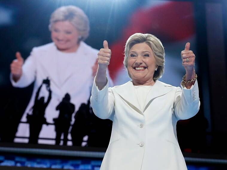 Hillary Clinton in an all-white suit at the Democratic National Convention in Philadelphia, Pennsylvania. (Source: AP)