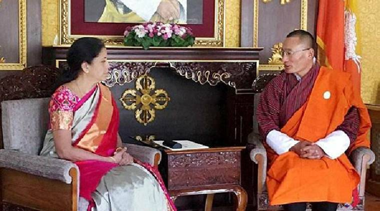 Bhutanese PM Tshering Tobgay with MoS (Independent Charge), Commerce and Industry, Nirmala Sitharaman in Thimpu on Saturday. PTI Photo/PIB