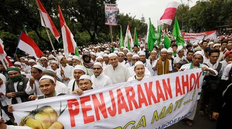 Jakarta, Jakarta violence, Jakarta destruction, blasphemy, Joko widodo, Jakarta protests, Muslims Protests, Indonesia Capital, Indonesia Governor, Basuki Tjahja Purnama, world news, indian express news