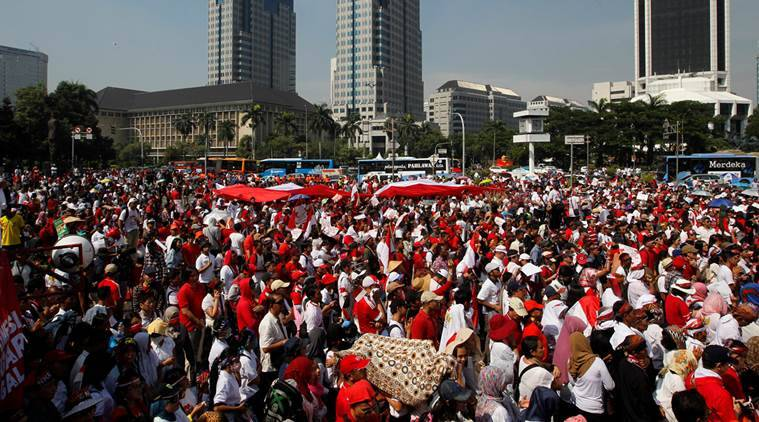 Indonesia, indonesai protest, indonesia peaceful protest, unity in diversity, Bhinneka Tunggal Ika, world news, indian express