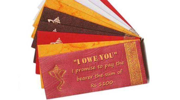 wedding, demonetisation, wedding gifts, wedding shagun envelopes, wedding cash, currency ban, wedding IOU cards, I owe you cards wedding gifts, trending news, latest news, india news, indian express