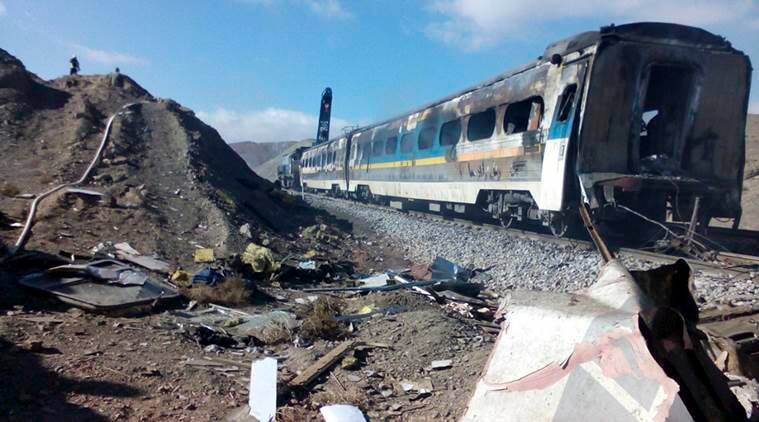Two trains collided about 150 miles (250 kilometers) east of the capital Tehran, Iran, Friday, Nov. 25, 2016. (Saeed Esmaeilpour, Fars News Agency via AP)