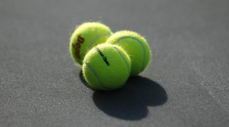 Tennis balls on the stadium court are seen at the Sony Ericsson Open tennis tournament in Key Biscayne