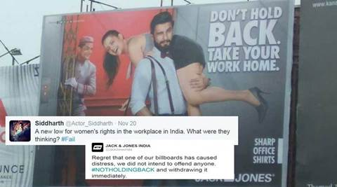 ranveer singh, ranveer singh jack and jones, ranveer singh befikre, befikre, jack and jones sexist ad, #dontholdback, don't hold back, take our work home, stereotyping in ads, ola cabs, nando's, indian express, indian express news