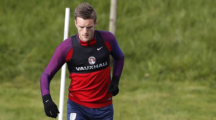 England's Jamie Vardy during training