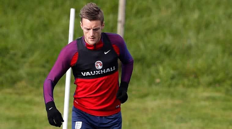 England's Jamie Vardy during training