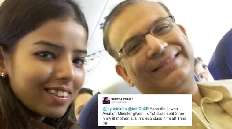 civial aviation minister jayant sinha, jayant sinha gives up seat, jayant sinha good deed, aviation minister twitter, shreyapradip, indian express, indian express news