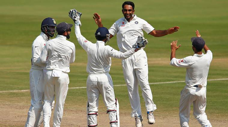 Cricket - India v England - Second Test cricket match - Dr. Y.S. Rajasekhara Reddy ACA-VDCA Cricket Stadium, Visakhapatnam, India - 21/11/16. India's Jayant Yadav (2nd R) celebrates with teammates the dismissal of England's Ben Stokes. REUTERS/Danish Siddiqui