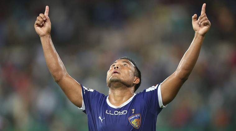 Jeje Lalpekhlua of Chennaiyin FC during match 39 of the Indian Super League (ISL) season 3 between Chennaiyin FC and FC Pune City held at the Jawaharlal Nehru Stadium in Chennai, India on the 15th November 2016. Photo by Luke Walker / ISL / SPORTZPICS