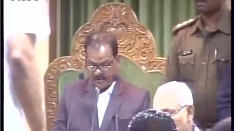 Jharkhand assembly, jharkhand assembly shoe hurled, Ranchi state assembly, shoe hurled at speaker, speaker of the house, Jharkhand State Assembly shoe case: Jharkhand atate assembly pandemonium, Jharkhand news, ranchi news, indian express news