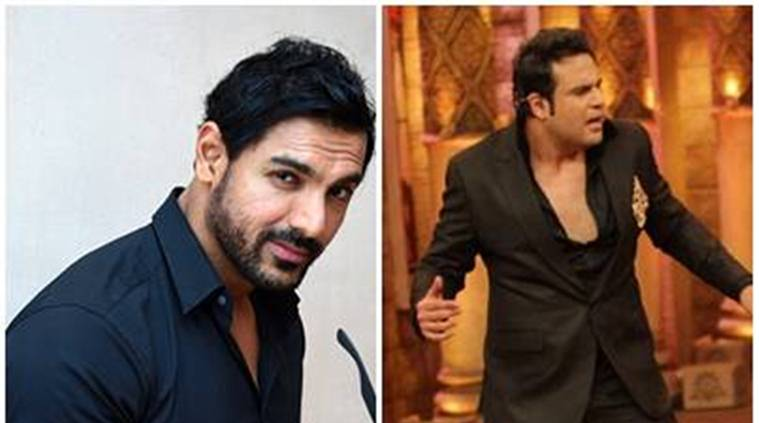 John Abraham, john abraham comedy nights, comedy nights bachao, krushna abhishek, john krushna, john abraham krushna abhishek, force 2, john abraham force 2, john force 2, sonakshi sinha, taahir bhasin, john tv show, john roast, john acting, television news, entertainment news, indian express news, indian express