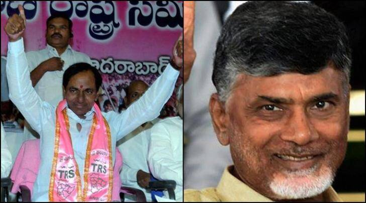 KCR (left), the chief minister of Telangana and N Chandrababu Naidu, the chief minister of Andhra Pradesh