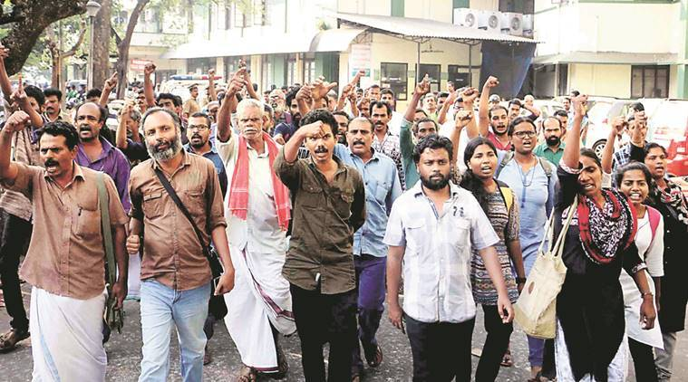 The relatives of the deceased and rights activists protest in Kozhikode on Saturday.  Express