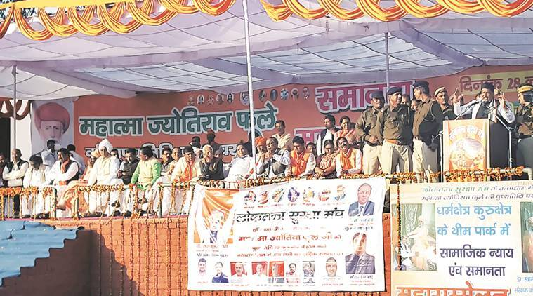 BJP MP Rajkumar Saini during the 'Samanta Maha Sammelan' at Kurukshetra on Monday. Express photo