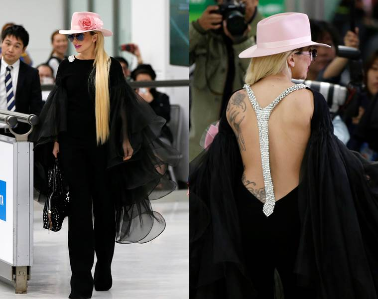 Lady Gaga in a jumpsuit with oversized ruffles on the arms. (Source: Reuters)
