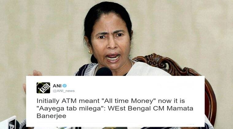 demonetistion, mamata banerjee, mamata banerjee atm tweet, didi atm tweet, didi demonetisation protest, didi against demonetisation, didi's protest against demonetisation, mamata banerjee atm definition, indian express, indian express news, trending, viral