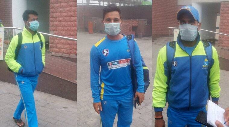 Bengal players with their masks on at the Feroz Shah Kotla in New Delhi. (Source: PTI)
