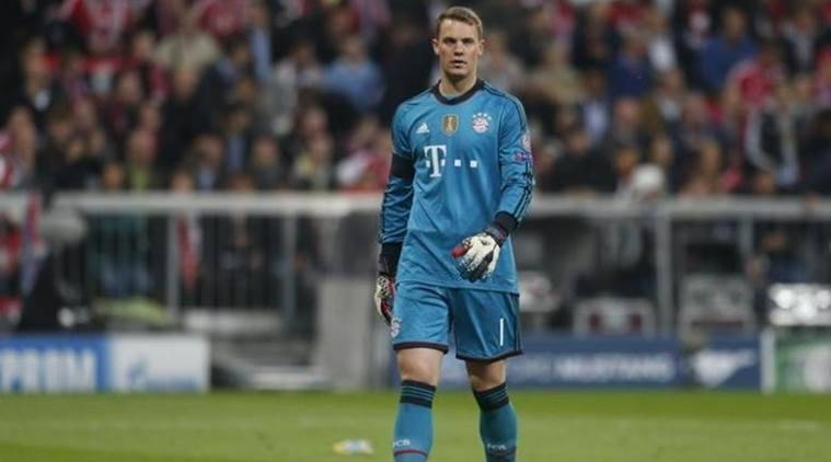 Bayern Munich's goalkeeper Neuer reacts during the Champion's League semi-final second leg soccer match against Real Madrid in Munich