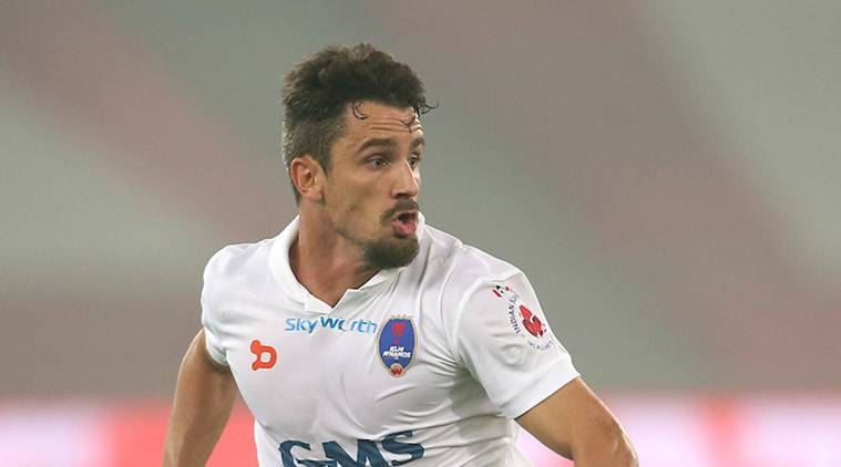 Marcelo Leite Pereira of Delhi Dynamos FC during match 30 of the Indian Super League (ISL) season 3 between Delhi Dynamos FC and Kerala Blasters FC held at the Jawaharlal Nehru Stadium in Delhi, India on the 4th November 2016. Photo by Shaun Roy / ISL / SPORTZPICS