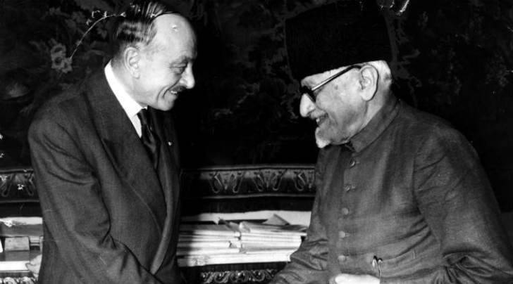 Maulana Abul Kalam Azad, union minister for education in France as a guest of the government he his received by French Minister of Education Jean Berthoin. Express archive photo