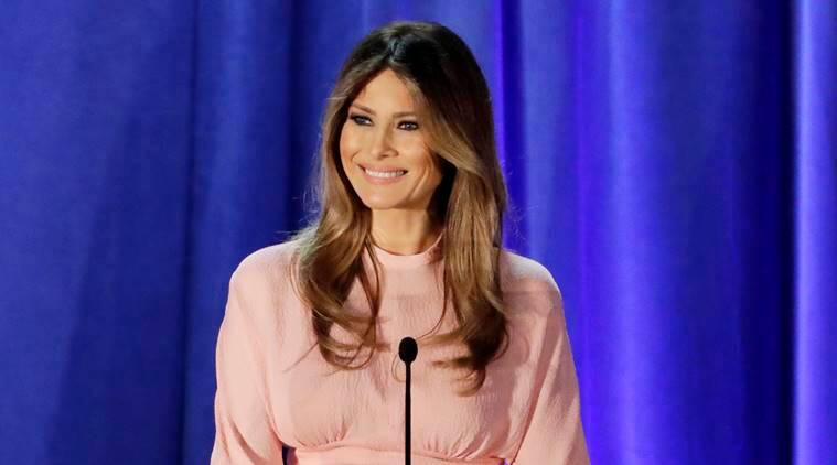 "In this photo taken Nov. 3, 2016, Melania Trump, wife of then-Republican presidential candidate Donald Trump speaks in Berwyn, Pa. America's future First Lady Melania Trump ""paused her studies"" to pursue a modeling career in Milan and Paris. That's according to her new biography on President-elect Donald Trump's transition website, GreatAgain.gov. (AP Photo/Patrick Semansky)"