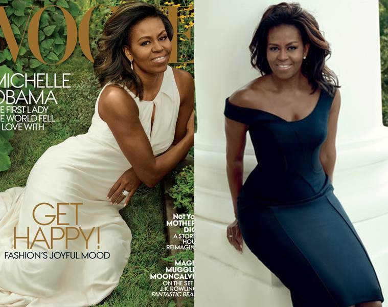 Michelle Obama graces the cover of Vogue for the first time. (Source: Annie Leibovitz/Vogue)