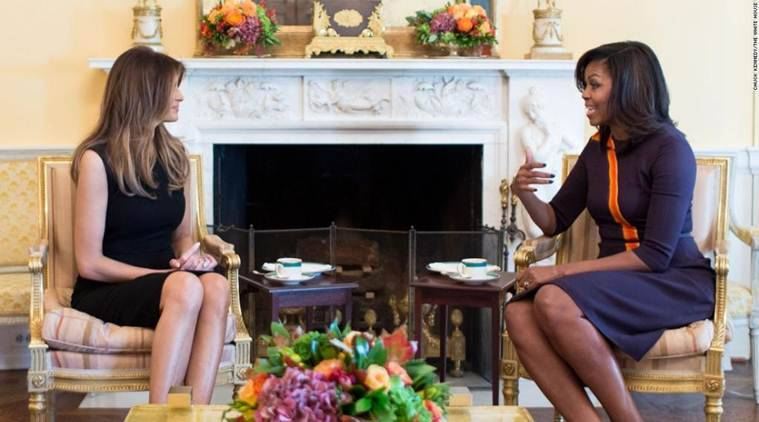 michelle obama, melania trump, michlle melania meeting, michelle melania white house meet, michelle melania speeches, melania trump michelle obama speech, us election, world news, viral news, latest news