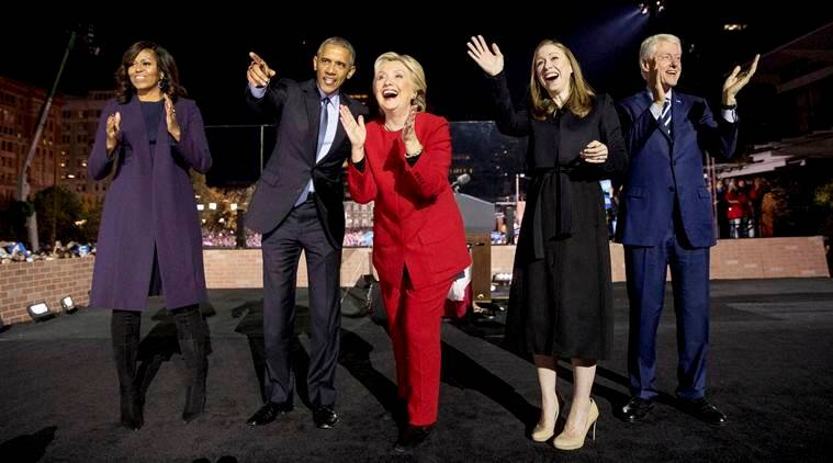 Michelle Obama took inspiration from Hillary Clinton (centre) at a rally at Independence Mall in Philadelphia. (Source: AP)