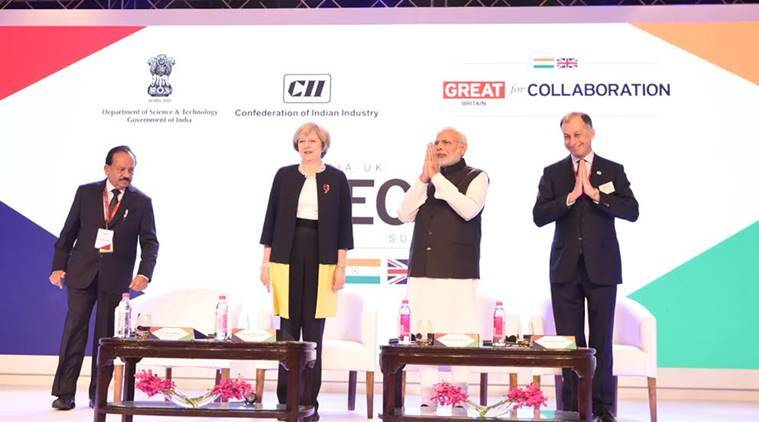 PM Narendra Modi and UK PM Theresa May at India-UK Summit in New Delhi. Photo: PIB