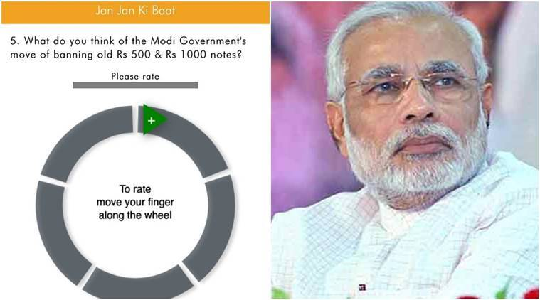 demonetisation, demonetisation crisis, narendra modi app questions, modi survey questions, Narendra Modi, Narendra Modi app, Narendra Modi demonetisation, demonetisation policy, currency demonetised, currency notes, currency banned, india news, indian express