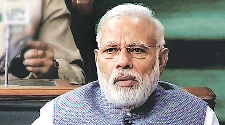 PM Modi in Lok Sabha, Wednesday. (PTI Photo)