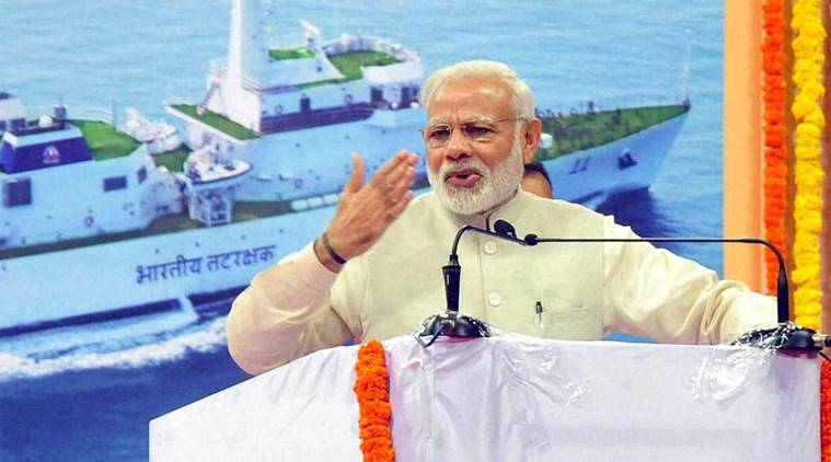 Mopa: Prime Minister Narendra Modi addressing the gathering during foundation stone laying ceremony of Greenfield Airport in Mopa, Goa on Sunday. PTI Photo(PTI11_13_2016_000021B)