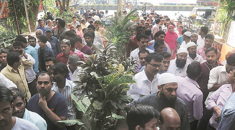 A long queue in front the Bank ATM at Santacruz for exchanging currency notes. (Express Photo by Pradip Das)