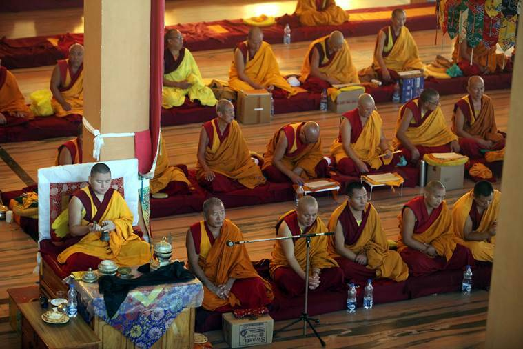A study and debate session at one of the monasteries in Camp 2. (Source: Express photo by Arul Horizon)