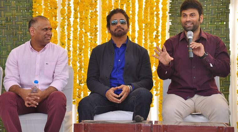 Nagarjuna at Raju Gari Gadi 2 launch event in Hyderabad. (Source: Express)
