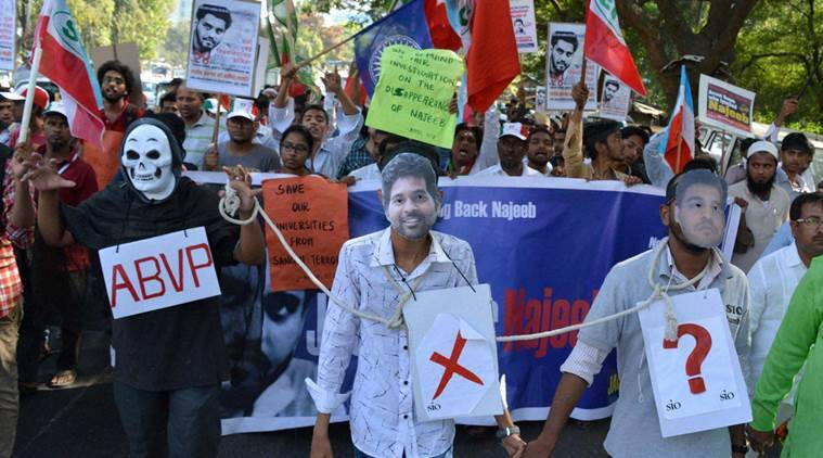 Mumbai: JNU protest for missing Najeeb Ahmed from Piperoad Masjid,kurla to kalina university. in Mumbai Thursday.PTI Photo by Vijay Bate (PTI11_24_2016_000285A)