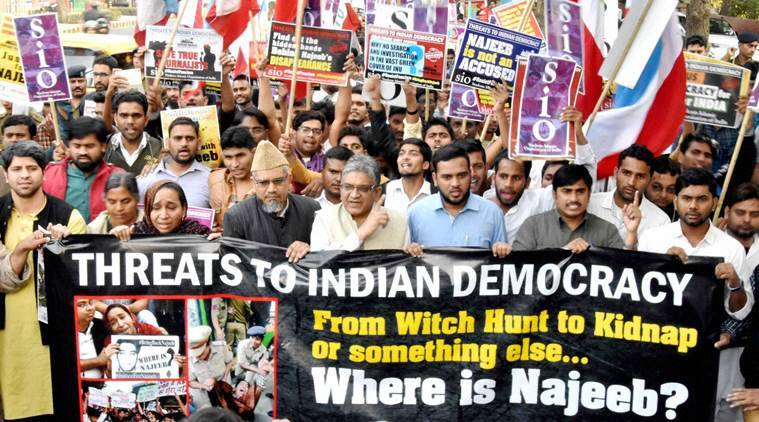 Najeeb Ahmed, Rohith Vemula, Najeeb missing, Missing JNU student, JNU student Najeeb, JNU student missing Najeeb, Najeeb protest, JNU protests, JNU missing student protest, Rohith Vemula mother, Najeeb mother, Indian Express, India news
