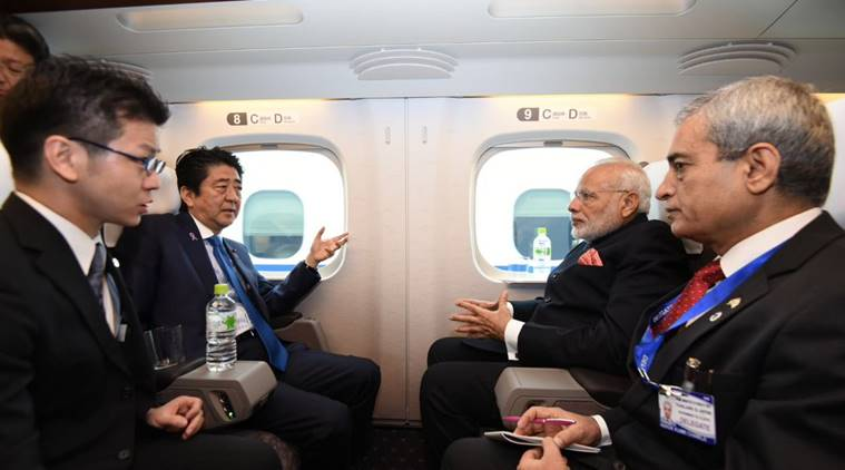 """""""On the way to Kobe with PM @AbeShinzo. We are on board the Shinkansen bullet train,"""" the Prime Minister tweeted. (Twitter)"""