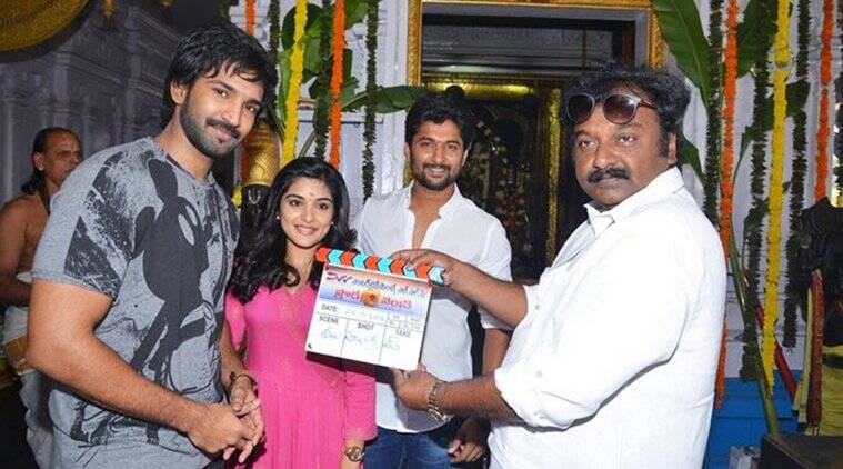 Aadhi Pinnisetty, Nivetha Thomas, Nani and V V Vinayak at launch event in Hyderabad