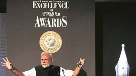 narendra modi, ramnath goenka awards, journalism awards, modi on media, modi on journalism, modi speech at RNG awards, modi at RNG awards