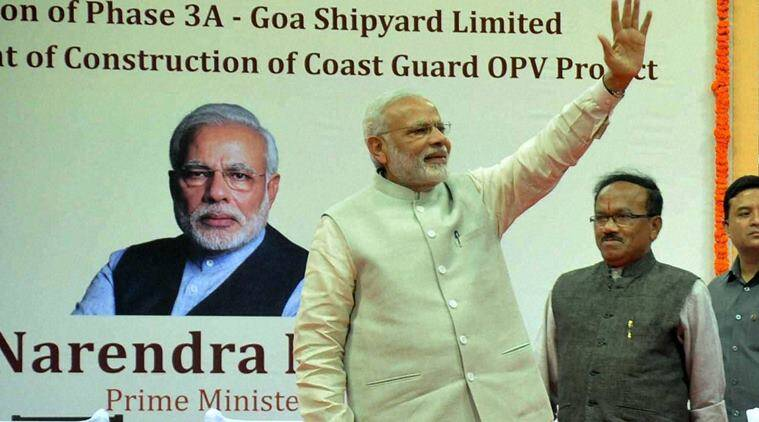Mopa: Prime Minister Narendra Modi with Defence Minister Manohar Parrikar and Goa CM Laxmikant Parsekar during the foundation stone laying ceremony of Greenfield Airport in Mopa, Goa on Sunday. PTI Photo(PTI11_13_2016_000056B)