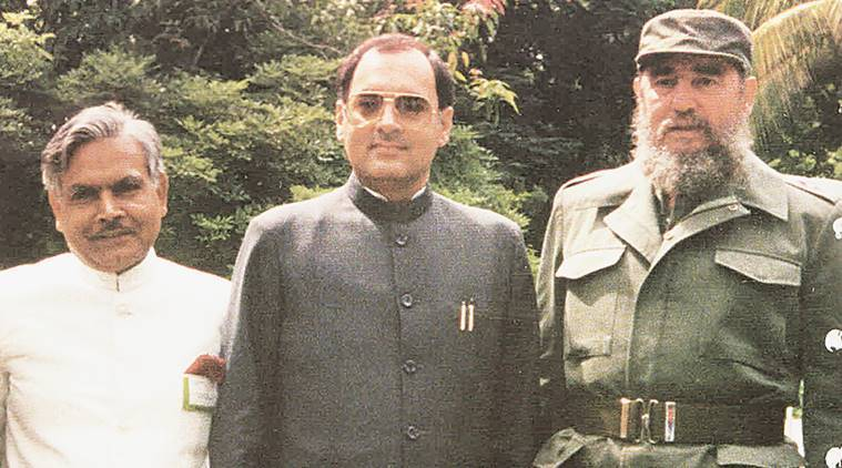 Natwar Singh with Fidel Castro and former PM Rajiv Gandhi.