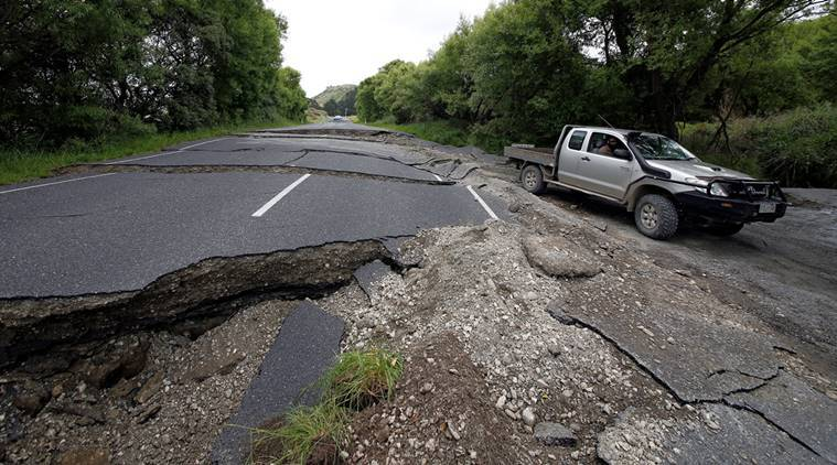 New Zealand eathquake, New Zealand earth quake damages, Kaikoura, earthquake, storms, landslides in New Zealand, Wellington, buildings evacuated, world news, indian express news