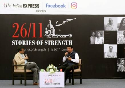 Devendra fadnavis, 26/11 exhibition, stories of strength exhibition, anant goenka, mumbai attack photos, images, pictures, mumbai terror attack, mumbai terror attack victims, news, latest news, India news, national news