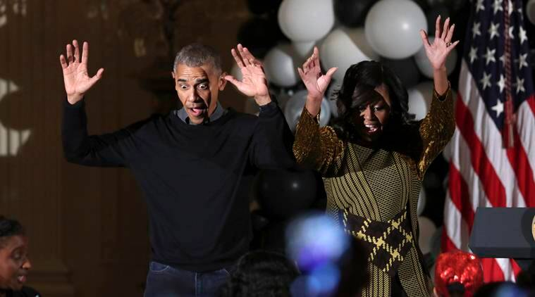 "President Barack Obama and the first lady Michelle Obama dance to the beat of Michael Jackson's ""Thriller"" at they welcome children from Washington area and children of military families to trick-or-treat celebrating Halloween at the White House in Washington, Monday, Oct. 31, 2016. (AP Photo/Manuel Balce Ceneta)"