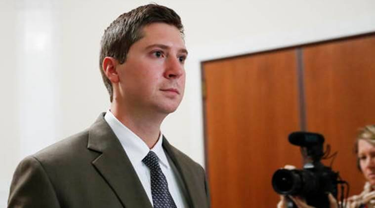 FILE – In this Nov. 10, 2016, file photo, former University of Cincinnati police officer Ray Tensing leaves court after the second day of jury deliberations in his murder trial in Cincinnati. Hamilton County Prosecutor Joe Deters' widely expected decision to retry Tensing on a murder charge in the traffic-stop shooting of Sam DuBose came with the surprise that he wants to move the next trial out of the Cincinnati area. A judge declared a mistrial Nov. 12 after jurors remained hung after 25 hours of deliberations. (AP Photo/John Minchillo, File)
