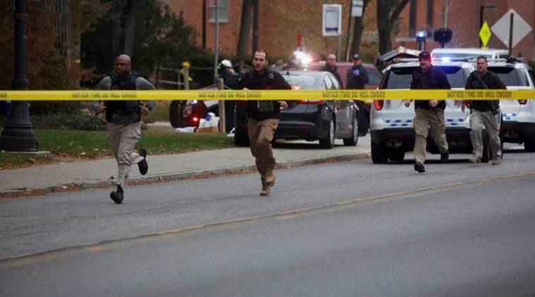 Columbus  :  Police respond to reports of an active shooter on campus at Ohio State University on Monday, Nov. 28, 2016, in Columbus, Ohio. AP/PTI(AP11_28_2016_000374A)