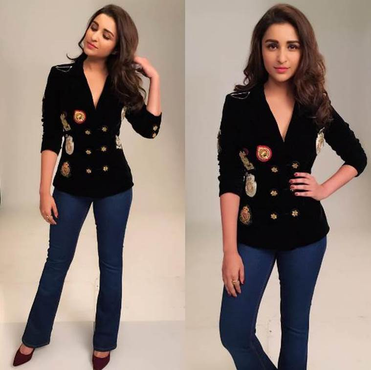 Parineeti Chopra in a beautiful Rose Room Couture blazer. (Source: Instagram/Sanjana Batra)