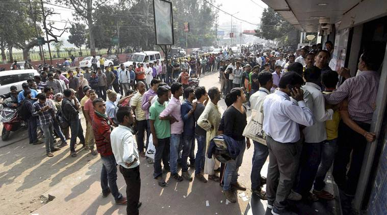 Demonetisation, Notes demonetisation, Notes scrapped, notes banned, new notes, Reserve bank of india, RBI, Narendra modi government, Modi government, government demonetisation, black money, catch black money, catch fake notes, fake notes, fake currency, fake currency notes, fake indian currency notes, FICN, public inconvenience, ATMs, nearest ATM, ATM search, Bank, nearest bank, bank branches, bank notes exchange, currency exchange, ATM queues, ATM lines, Bank queue, bank queues, bank line, bank crowd, banks crowd, ATM crowd, deaths, demonetisation impact, demonetisation effects, india news, indian express