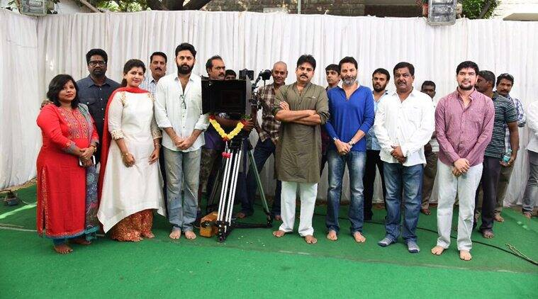Nithin, Pawan Kalyana and Trivikram at the film launch. (Source: Twitter)